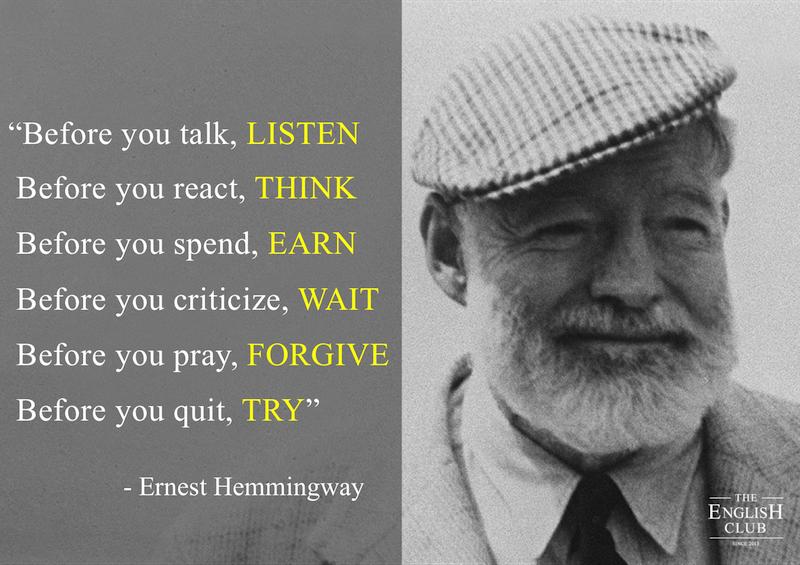 英語の名言:Ernest Hemmingway