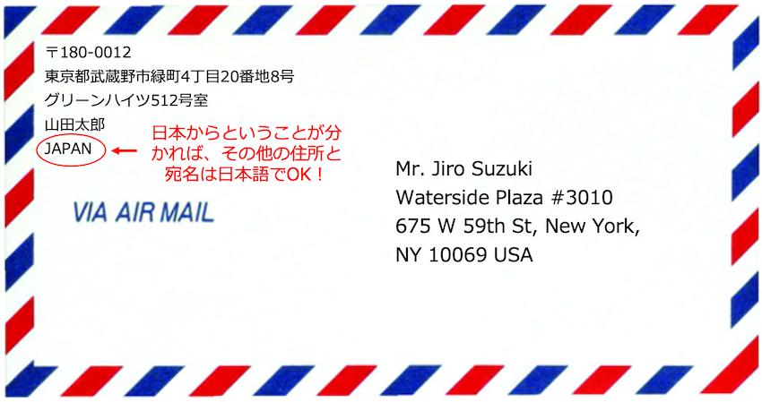 英語で宛名(日本から)